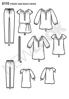 New Look 6110. Raglan tunic or top with gathered neckline. misses' pullover tunic or top with banded neckline and sleeve variations, optional tie at waist and knit leggings. new look sewing pattern.