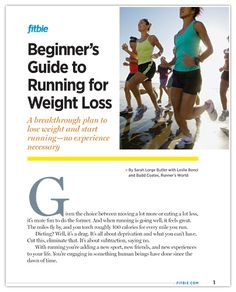 The Beginner's Guide to Running for Weight Loss (Print it for free on Fitbie!) (Reduce Weight Poster)