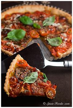 Roasted Tomato Basil Tart  Author: SpicieFoodie.com & Nancy Lopez-McHugh Recipe type: Main, Entree, Lunch, Vegetarian, Tomatoes Serves: 2-4