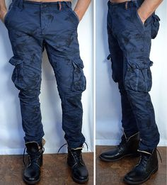 SUPERDRY Men's - SLIM CORE - Cargo Lite Pants - Military - NEW - Ink Blue Camo
