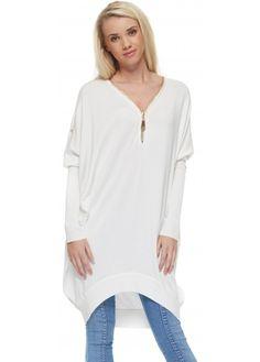 Laetitia Mem Soft White Oversized Slouch Jumper With Gold Zip Neckline