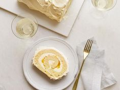 Get Lemon-Vanilla Cake Roll Recipe from Food Network