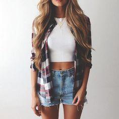 flannel shirt + denim shorts