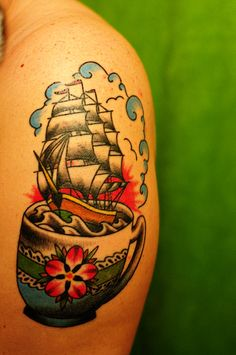 lovely little ship in a teacup  by Heidi at Lucky Devil Tattoo Seattle