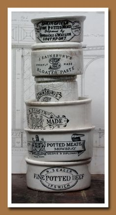 English Pots {for potted meats and other suspicious substances}