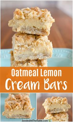 These easy Oatmeal Lemon Cream Bars have a creamy lemon filling between two thick crumbly oatmeal layers. A delightful balance of sweet and tangy! Summer break started here in the good ol' south almost one Lemon Desserts, Lemon Recipes, Sweet Recipes, Oatmeal Lemon Bars, Oatmeal Cake, Cookie Recipes, Dessert Recipes, Easy Dessert Bars, Good Healthy Recipes