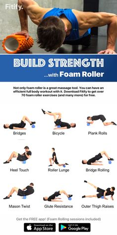 Foam Rolling – Burn fat and build muscles with a foam roller! Not only foam roller is a great massage tool. You can have an efficient full body workout with it. Get Fitify App to get over 70 foam roller exercises (and many more) for free. Pilates Training, Fitness Studio Training, Pilates Workout, Gym Workouts, At Home Workouts, Swim Training, Ab Workout Men, Workout Guide, Roller Workout