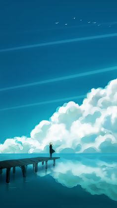 ↑↑TAP AND GET THE FREE APP! Art Creative Abstract Sea Water Sky Clouds Lines Girl Pier HD iPhone 5 Wallpaper