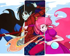 Awesome collage-type drawing with Marceline, Marshall Lee, Prince Gumball, and Princess Bubblegum.