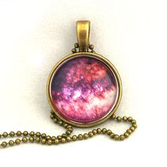 10% SALE - Necklace Copper, Pink Milky Way, Dark Nebula, Galaxy Jewelry, Spring Summer, Universe, Space, Pendant Necklaces, Special Gift. £7.49, via Etsy.