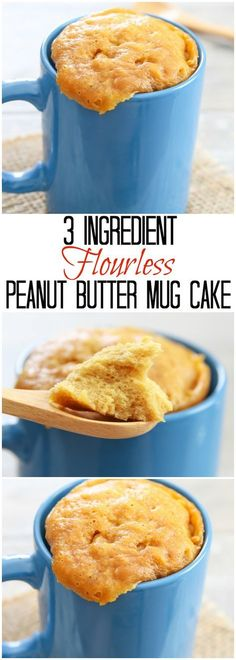 3 Ingredient Flourless Peanut Butter Mug Cake. Easy and ready in 5 minutes and you won't believe it is flourless! 3 Ingredient Flourless Peanut Butter Mug Cake. Easy and ready in 5 minutes and you won't believe it is flourless! Low Carb Desserts, Gluten Free Desserts, Healthy Desserts, Dessert Recipes, Cake Recipes, Healthy Food, Healthy Meals, Gluten Free Mug Cake, Healthy Recipes