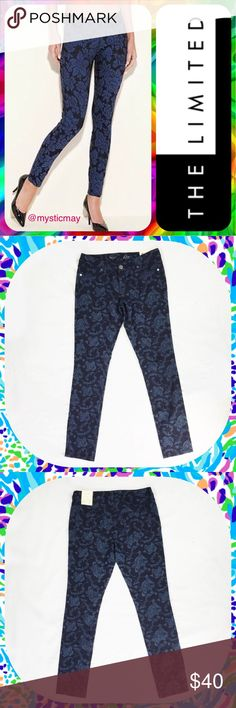 "THE LIMITED 678 Navy Floral Jacquard Skinny Jeans New with Tags! Navy blue 678 Low Rise Skinny Jeans from The Limited! These jeans have a slim fit around the hip and thigh and a floral jacquard weave. Classic 5-pocket styling and great stretch for a perfect fit. Zipper with single button closure. Size 6 or Small (S). Measures 31"" around the waist with a 30"" inseam. Full Length: 38.5 inches. Leg Opening: 12 inches. Cute jeans! The Limited Jeans Skinny"
