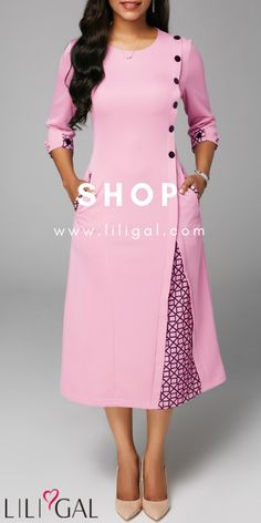 Fashion Dresses Three Quarter Sleeve Button Embellished Midi Dress you can find similar pins below. We have brought the bes. Kurti Designs Party Wear, Kurta Designs, African Fashion Dresses, Fashion Outfits, Indian Designer Wear, Sewing Clothes, Dress Patterns, Beautiful Outfits, Casual Dresses