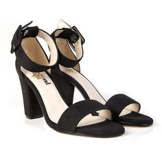 Felix black faux suede vegan high heel ankle strap sandal shoe made from nude non leather pleather with synthetic faux leather lining 100% Vegan, vegetarian and cruelty-free.
