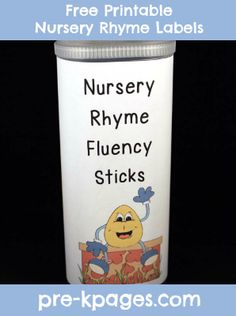 Free printable nursery rhyme labels to create fluency sticks for your pre-k or kindergarten classroom. Nursery Rhyme Crafts, Nursery Rhymes Preschool, Nursery Rhyme Theme, Rhyming Activities, Pre K Activities, Preschool Kindergarten, Pre K Pages, Kids Learning, Learning Centers