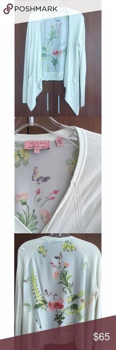 Ted Baker Floral Accent Cardigan Drapey open front cardigan in a pale mint green knit and a floral silk back. Second picture is the most accurate representation of color. Floral pattern in fun brights accents summer jewel tones well. Only worn a few times in like new condition. Ted Baker London Sweaters Cardigans