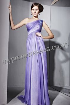 Floor Length One-shoulder Purple Chiffon A-line Evening Dress  http://www.mypromdresses.co.uk