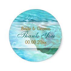 """Beach theme wedding turtle """"thank you"""" round stickers"""