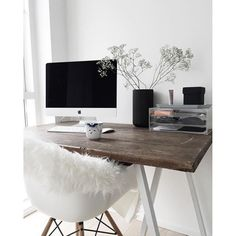 Cozy Scandinavian home office with a rustic feel thanks to the old wood surface of the desk and the fuzzy faux sheepskin.%categories%Home Home Office Design, Home Office Decor, Home Interior Design, Home Decor, Office Ideas, Office Table, Office Designs, Office Decorations, Workplace Design