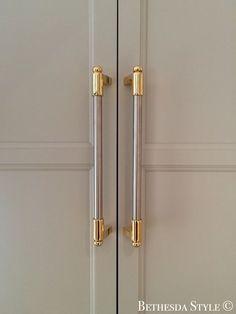 ~ Brass Steel Fridge Door Pulls ~ Custom Made by LaCanche Kitchen Knobs, Kitchen Hardware, Kitchen Cabinet Doors, Wooden Kitchen, Home Hardware, Brass Hardware, Kitchen Fixtures, Kitchen Decor, Kitchen Cabinets