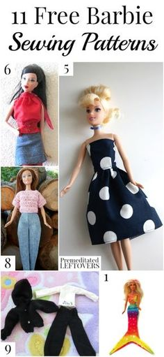 Making clothing for your child's Barbies can be fun and easy. Here are 11 free Barbie sewing patterns for you to try. Making clothing for your child's Barbies can be fun and easy. Here are 11 free Barbie sewing patterns for you to try. Sewing Barbie Clothes, Barbie Clothes Patterns, Vintage Barbie Clothes, Doll Dress Patterns, Clothing Patterns, Diy Clothes, Clothes Hangers, Shirt Patterns, Clothes Storage