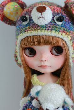 Cookie bear Hat. Blythe Doll