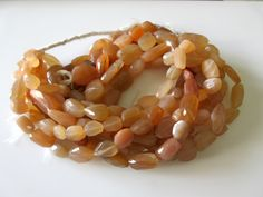 5 Strands Wholesale Peach Moonstone Tumble, Moonstone Faceted Nugget Beads, Huge…
