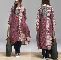 Cotton Patchwork link temperament women dress / ethnic by dreamyil, $99.00