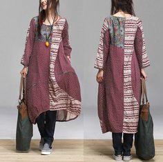 Cotton Patchwork link temperament women dress / ethnic style purse Neck Dress