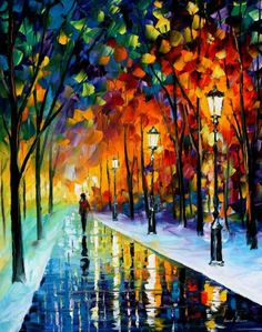 Get carried away by a swirl of colorful reflections dancing on the icy surfaces of a spell-bound park! This modern art painting by Leonid Afremov is performed with a palette knife in a vivid impressionistic style. Oil Painting Reproductions, Arte Pop, Palette Knife, Palette Art, Winter Landscape, Oil Painting On Canvas, Painting Art, Painting Classes, Painting Clouds
