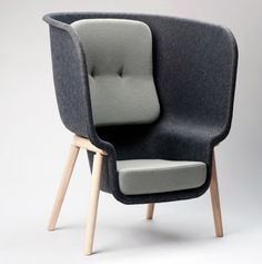 Pod privacy chair by Benjamin Hubert is made from pressed felt derived from recycled PET bottles.