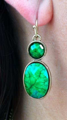 green statement necklace and these beautiful earrings!  $22.00 http://www.ssuniquejewelry.com/green-statement-necklace-earrings-set/