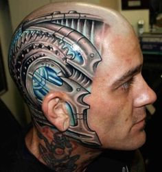 Facial tattoos or face tattoo designs are a modern trend with variety in liking. But these tattoo face styles including the tribal face tattoos and many others are tattoos on face that most of us would actually like. Biomech Tattoo, Cyborg Tattoo, Biomechanical Tattoo Design, Skull Tattoo Design, Tattoo Designs Men, Face Tattoos For Men, Facial Tattoos, Small Hand Tattoos, Hand Tattoos For Guys