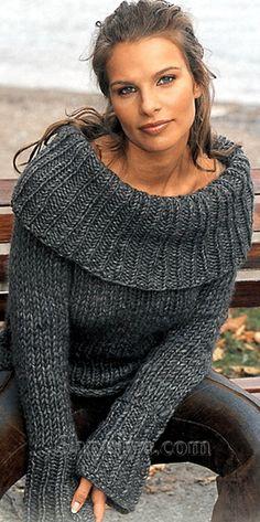 Темно-серый пуловер с воротником хомут, вязаный спицами