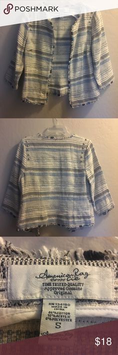 American Rag Open Jacket S Super cute! Perfect for spring and summer! Blue Gray and White Fringed look adds style! American Rag Jackets & Coats Blazers