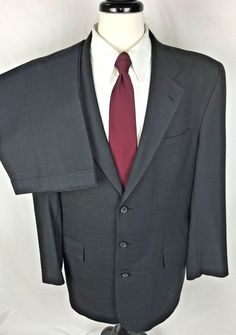 JOS A BANK Suit 40 Men's Gray WOOL Single Vent Blazer Jacket Pants 42 L #JosABank #ThreeButton