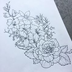 Thigh tattoo wildflowers grow anywhere. perserverance wildflower tattoo, line drawing tattoos Floral Thigh Tattoos, Flower Tattoo Arm, Flower Tattoo Designs, Thigh Tattoo Designs, Floral Tattoo Design, Line Art Tattoos, Body Art Tattoos, Sleeve Tattoos, Tatoos