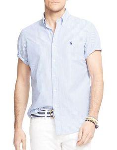 Polo Big And Tall Short Sleeve Striped Seersucker Shirt Men\u0027s Faded Bl