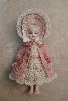 Hand crocheted American Girl Doll Mini Doll Clothes pastel