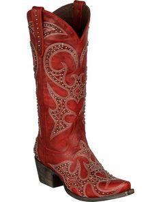 Lane Lovesick Stud Vintage Cowgirl Boots - Snip Toe, Red, hi-res Vintage Cowgirl, Vintage Boots, Cowgirl Style, Western Style, Western Boots, Cowboy Boots, Red Boots, Coral Boots, Western Wear