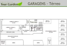 Planta Térreo. Garagens. Projeto Residencial Tour Garden. Rua Presidente Carlos Cavalcanti, 203 - Centro, Curitiba - PR.