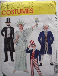 Abe Lincoln, Statue of Liberty, George Washington and Uncle Sam Kid's Costume Pattern - McCall's 8701 - Size 6-7, Chest 25-26 by Shelleyville on Etsy