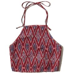 Hollister Smocked Halter Top ($14) ❤ liked on Polyvore featuring tops, burgundy pattern, print crop tops, smock top, tie back crop top, halter crop top and burgundy top