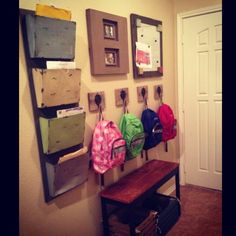 School wall for kids shoes, backpacks, papers, magnet board for good grades  #entryway #school #backpack
