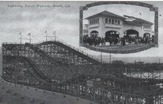 Old Redondo Beach California Pier Roller Coaster circa early 1900's. Unknown Photographer.