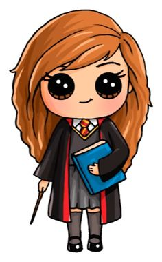 Harry Potter Hermione Draw So Cute Kawaii Girl Drawings, Cute Girl Drawing, Disney Drawings, Drawing Disney, Cartoon Drawings, Arte Do Harry Potter, Cute Harry Potter, Harry Potter Drawings Easy, Harry Potter Hermione