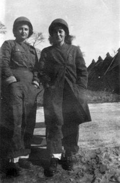 Picture taken in October 1944, right after the 164th General Hospital arrived in France. Nurse Ellan Levitsky (left) and nurse Dorothy Levitsky (right) ~