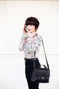 New Darlings Spring-like Florals - Black Skinny Jeans and Boots - Sezane bag - Milkbraids Hairstyle