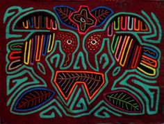 Kuna Indian Hand Stitch Two Bird Mola-Panama 16083001L