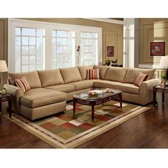A tan sectional in the open with burgandy pillows and throws to match the wall  sc 1 st  Pinterest : tan sectional couch - Sectionals, Sofas & Couches